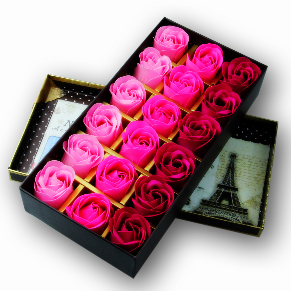 18pcs/lot) rose flower Scented Soap flower with Box romantic Lover ...