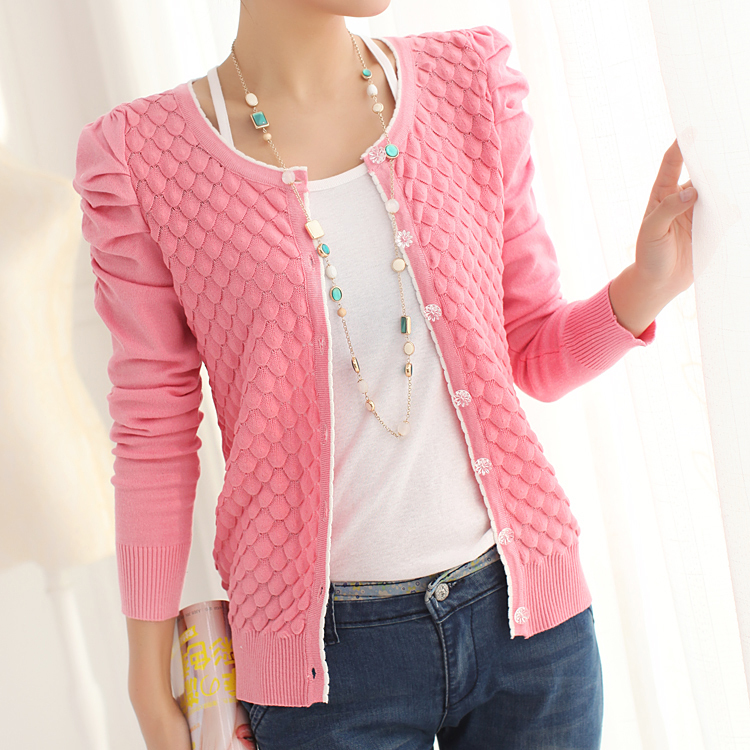 2014 Spring Women'S Cardigan O Neck Puff Sleeve Pearl ...