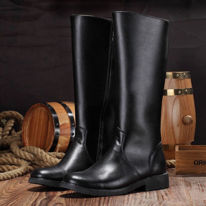 Free shipping 2014 new men riding boots with real leather knee-high boots black, fashion mens shoes<br><br>Aliexpress