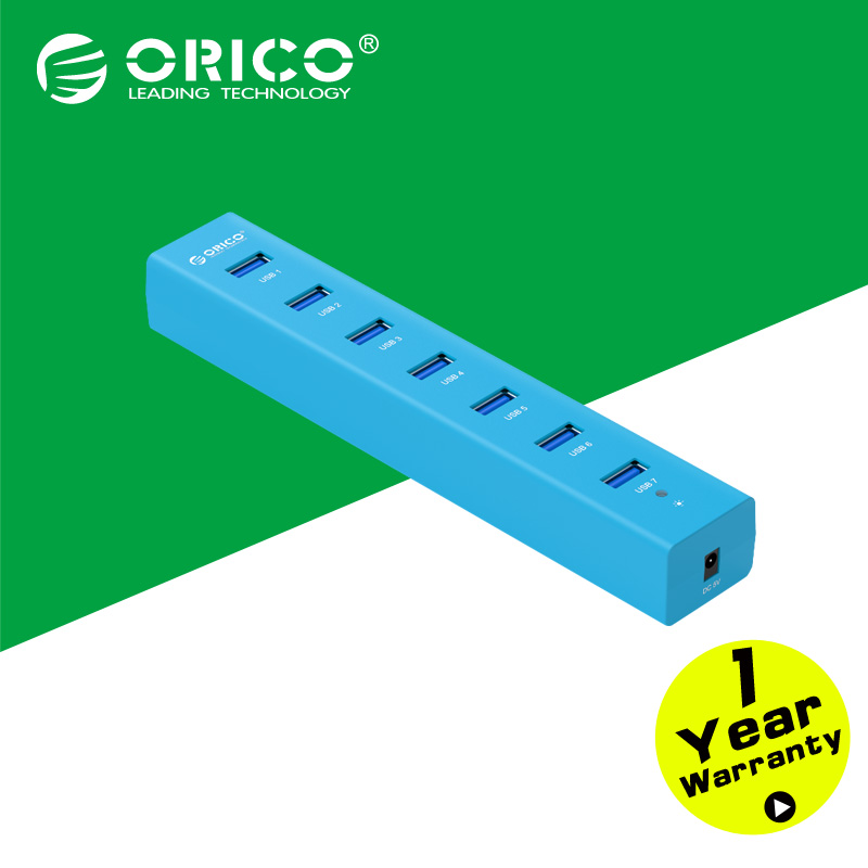 ORICO H7013-U3-BL Super Speed ABS USB3.0 7 Ports HUB with 5V2A Power Adapter On sale-BLUE(China (Mainland))