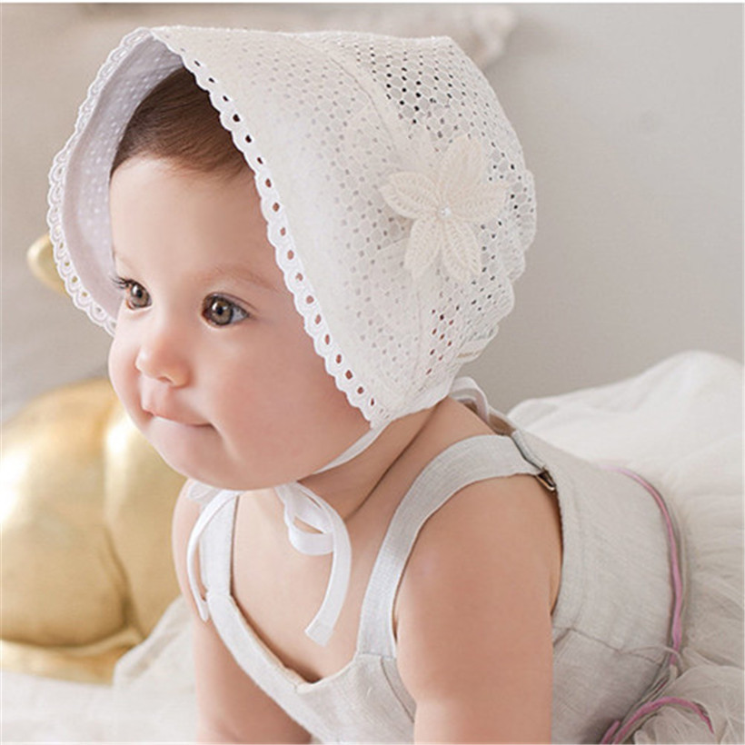 Sweet Lovely Cute Princess Children Kids Girls Baby Hat Beanie Pink White Lace Floral Caps - CM Seedings Jewelry store