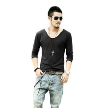 Men's Exclusive Pretty Tops Deep V Neck Long Sleeve T Shirts Stunning Cut Off Border Plus Size