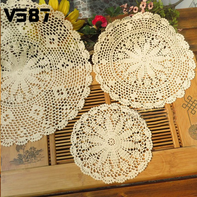 25-50cm Vintage Pastoral Style Flower Placemat Table Mat Handmade Cotton Round Doily Cup Pads Doilies Crochet Lace Knit Coaster(China (Mainland))