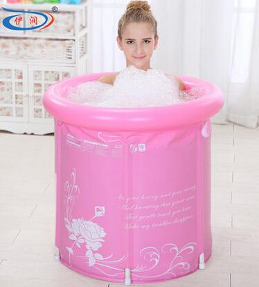 65x70 thickening folding Portable tub Adult Spa PVC bathtub inflatable bathtub bucket blue and pink(China (Mainland))