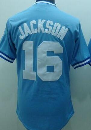 #16 Bo Jackson Jersey Throwback Baseball Jersey White Blue Top Quality(China (Mainland))