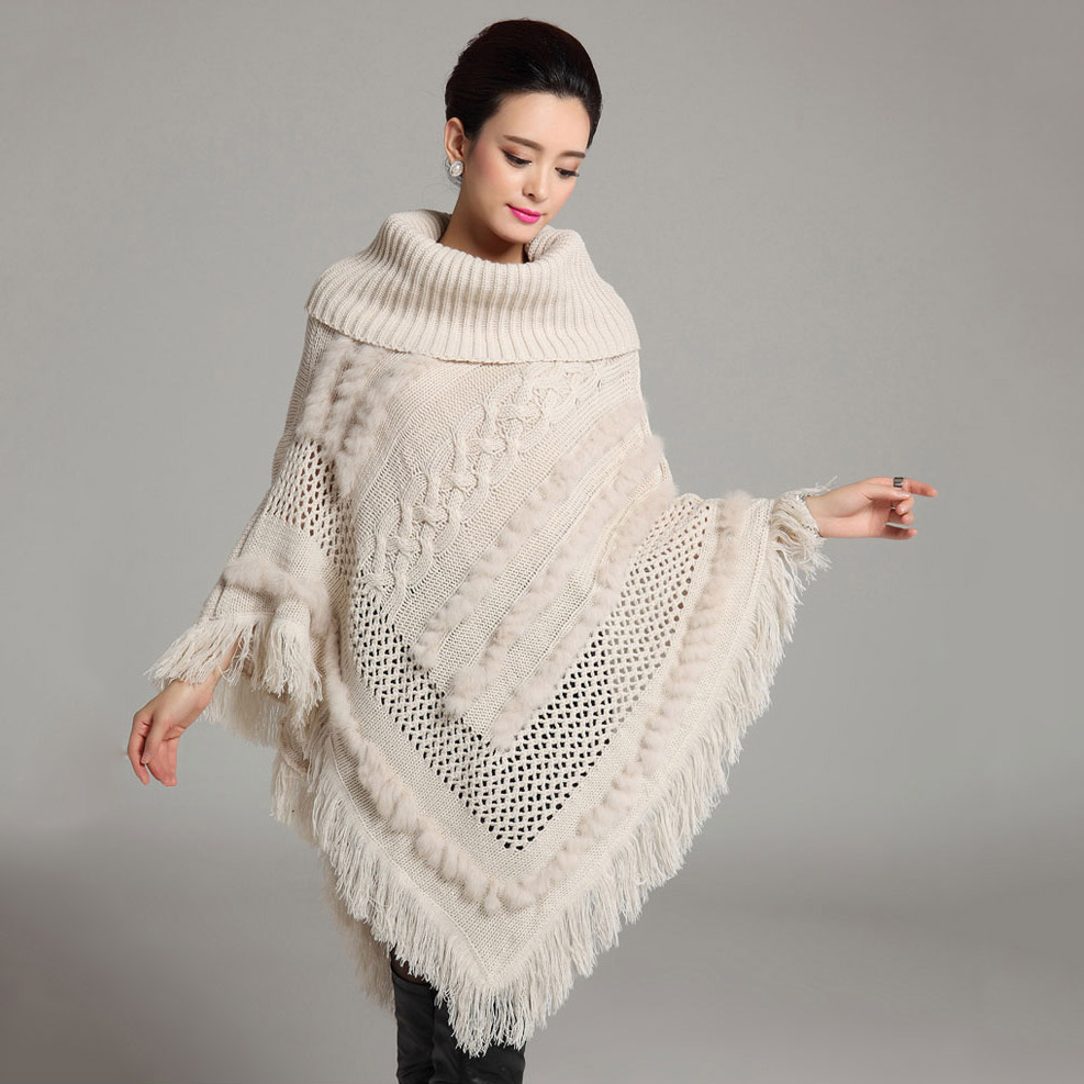 2015 new Knitted women poncho with natural rabbit fur high collar Long Batwing shawl Sweater Fashion Girl's white capes Autumn(China (Mainland))