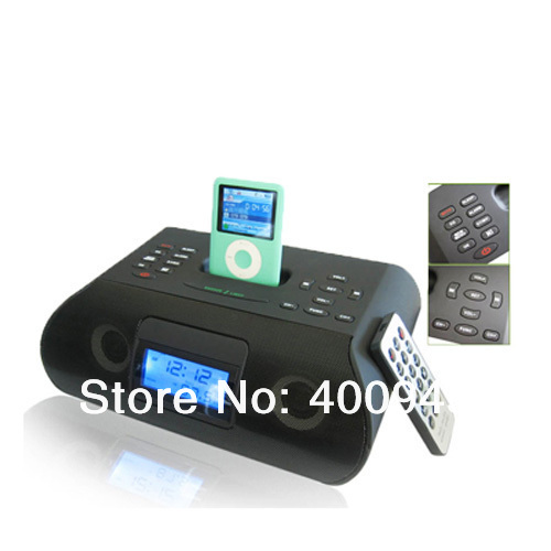 Dock station Speaker for Apple IPOD iphone 3GS iphone 4S FM Radio Alarm Clock Speaker LCD Display remote control,free shipping(China (Mainland))