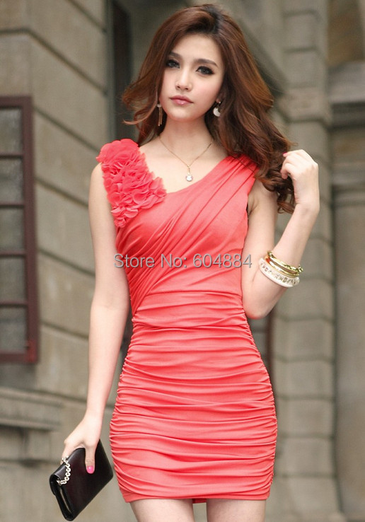 Fashion New 1Pcs V-Neck Appliques Sexy Sleeveless Cotton Ruched Mini Dress Women Dresses For Cocktail Club Party Free Shipping(Hong Kong)