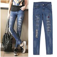 Женские джинсы Skinny jeans 2015 Distrressed S6115