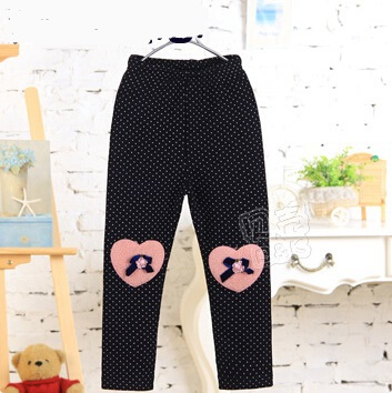 2015 winter new style little girls skinny leggings with appliques baby girls cotton leggings with velvet thickened A2114(China (Mainland))