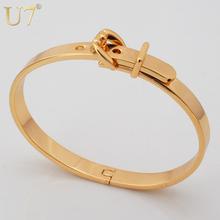 Brand Bangle Unisex Women/Men Jewelry Wholesale 2 Colors Real Platinum/18K Gold Plated Round Trendy Belt Bracelets Bangles H348(China (Mainland))