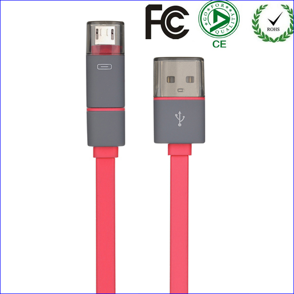Wholesale Best Price 100PC/Lot 1M 2in1 8pin and Micro V8 Data USB Cable For Iphone 5S Air For Samsung LG Free Shipping(China (Mainland))