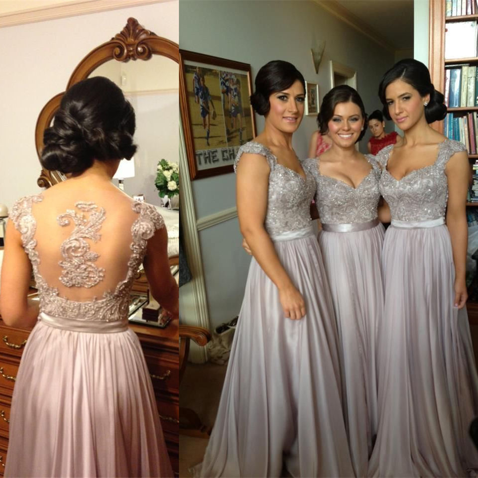 Popular bridesmaids dresses silver grey buy cheap bridesmaids silver grey bridesmaid dresses long floor length chiffon sheer short sleeve formal gown grey silver bridesmaids ombrellifo Image collections