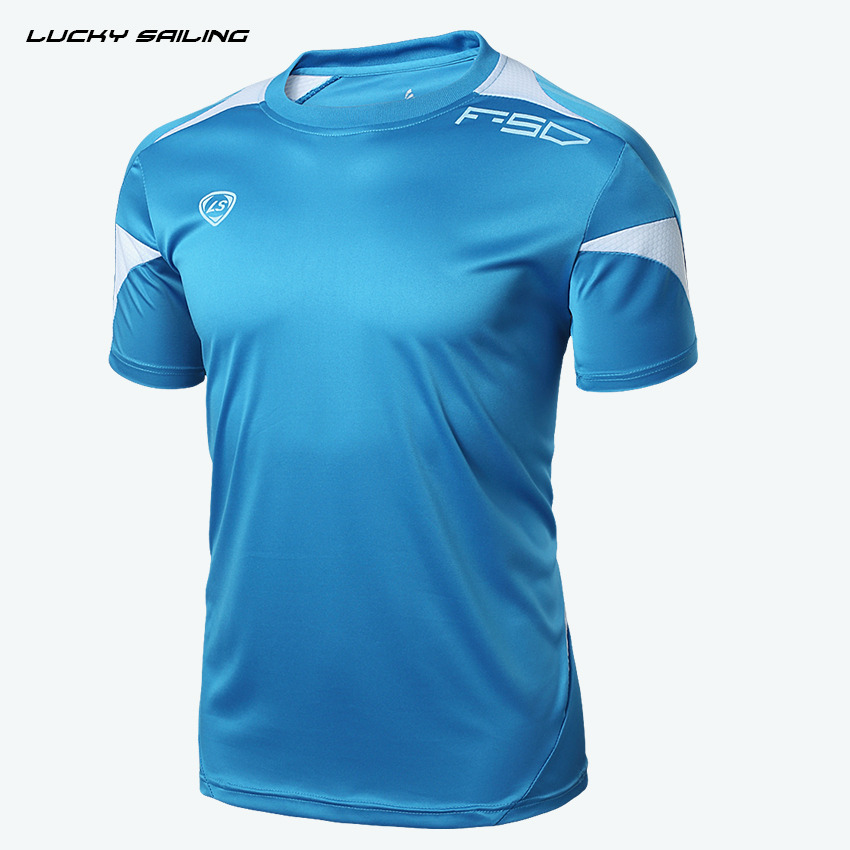LUCKY SAILING crossfit brand 2015 Running T Shirts summer style t shirt men fitness Sport Shirt