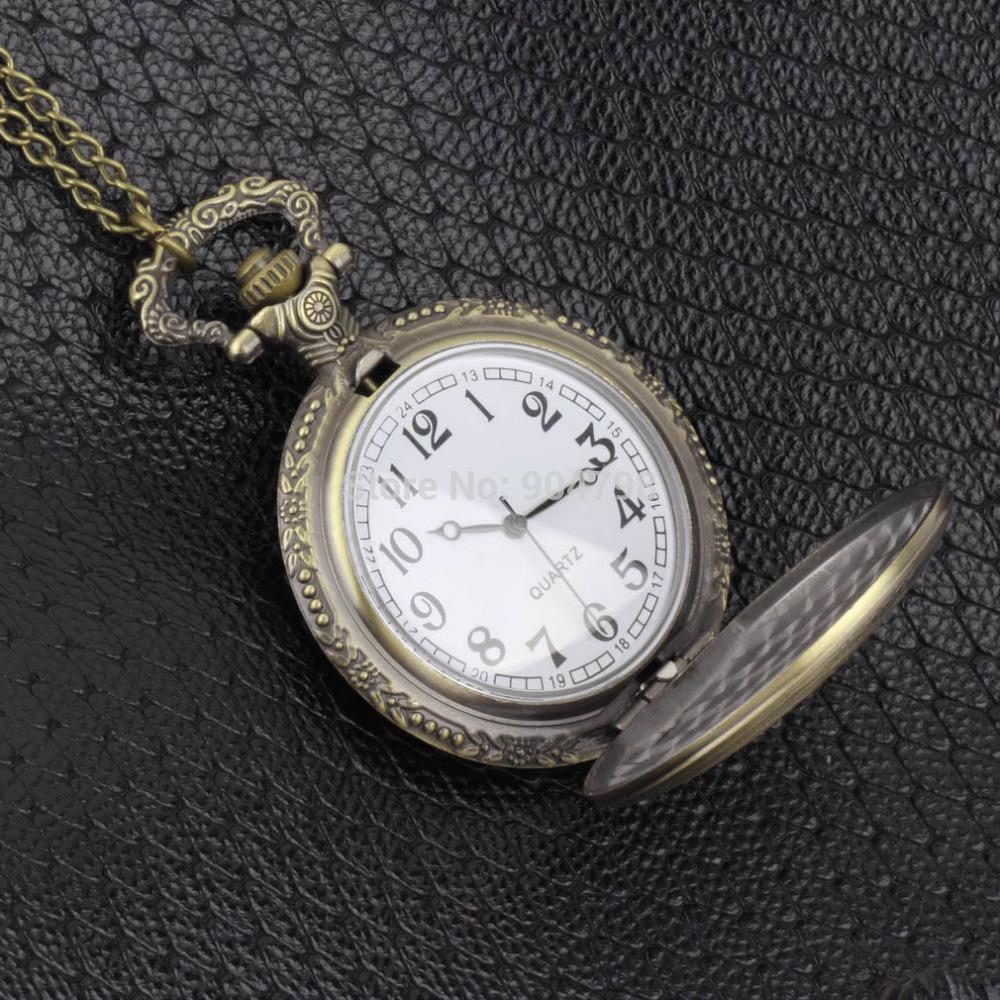 Antique Vintage Retro Bronze Quartz Pendant Chain Necklace Pocket Watch