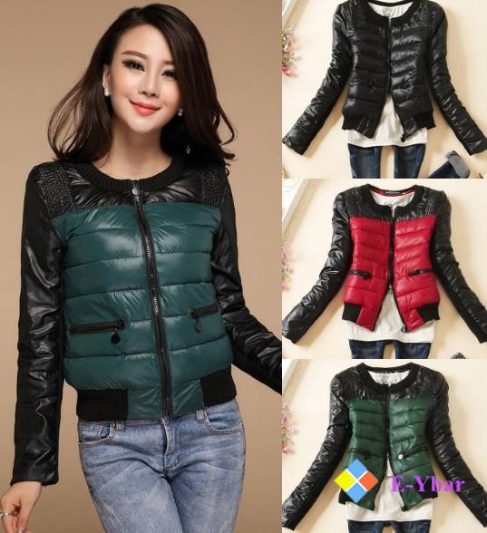 2015 Good Quality Gentle Black White Women's Short Style Fashion Slim Winter Warm PU Leather Jacket Outwear Coat - The E-Ybar Co. Ltd store