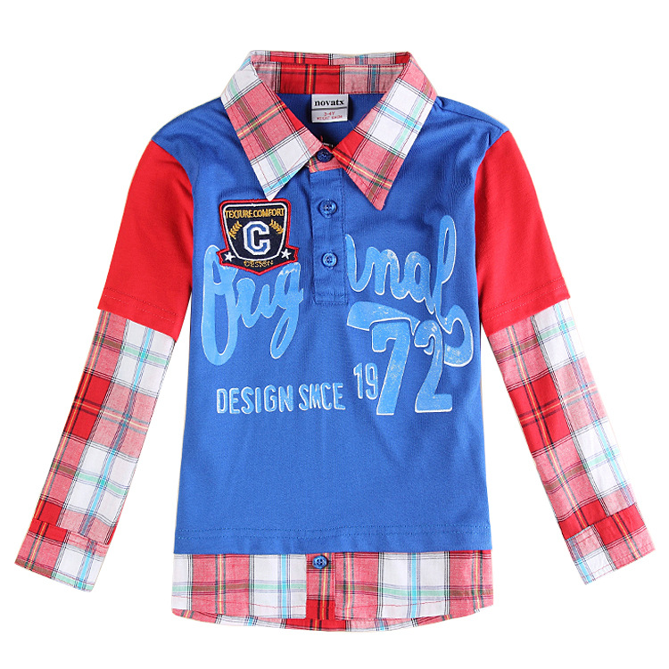 2015 New Designer Children T-Shirt Boy Cotton England Style Autumn Long Sleeve Plaid Letter Kids Tops Tees Clothes D10(China (Mainland))