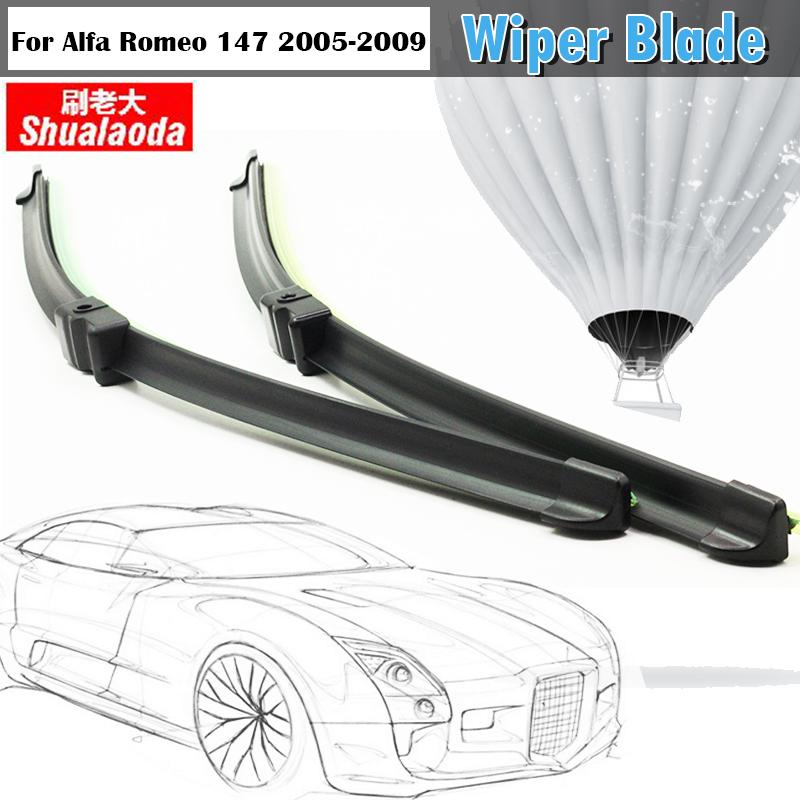 Auto Soft Rubber Rain Snow Wiper Blades For Alfa Romeo 147 2005-2009 1Pair Car Bracketless Windshield Wiper Blade(China (Mainland))