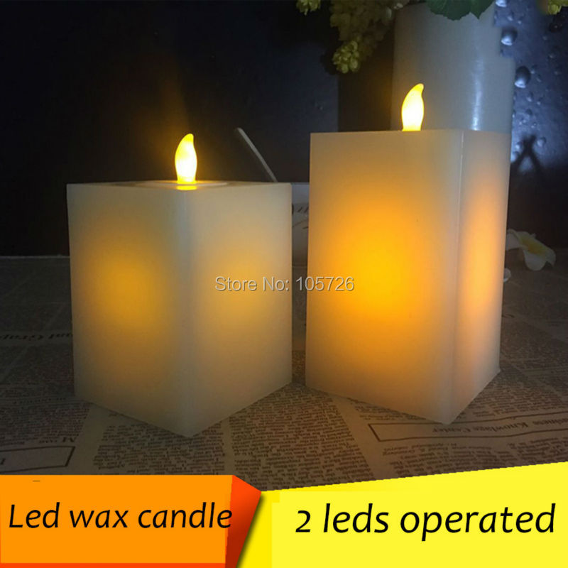 flameless square LED electronic candle lights romantic candle/2 led bulbs/ battery operated for home party wedding decoration(China (Mainland))
