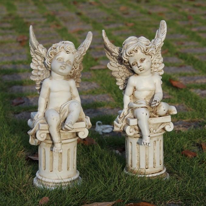 Set of 2 PCS Shabby Look Vintage Chic Style Resin Gypsum Like Roman Columns Angel props Garden Fairy Flowers Angel(China (Mainland))