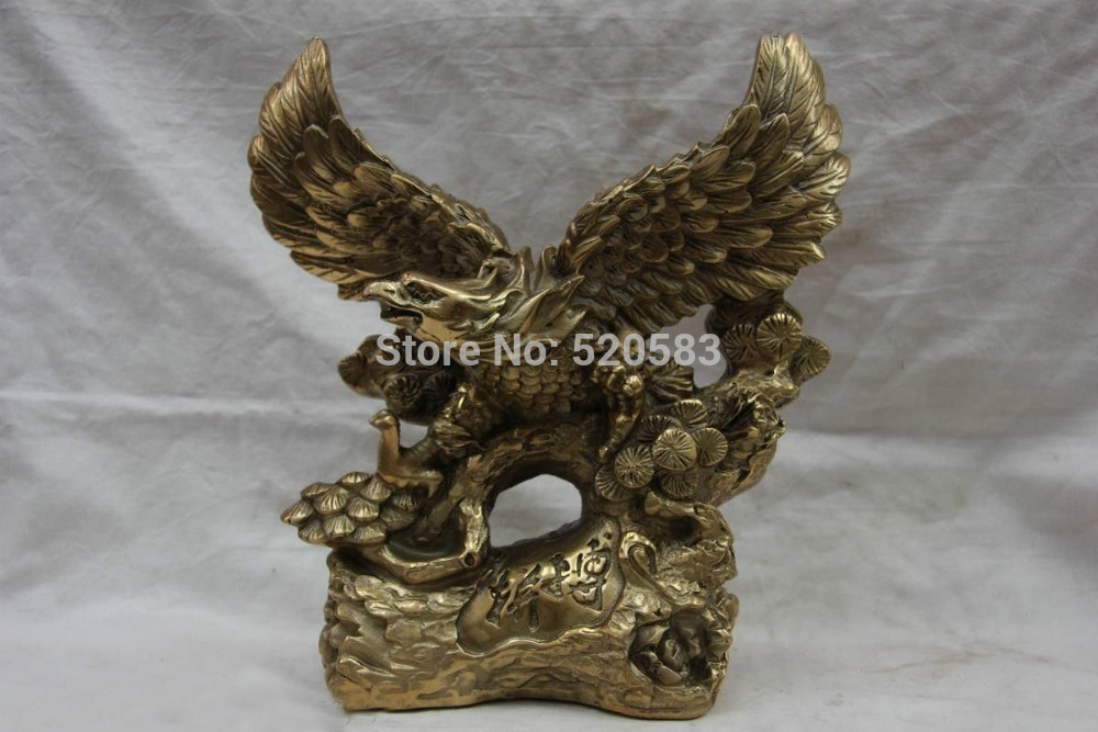 9 Chinese Folk Refined Copper Bronze Feng Shui awing Fly Eagle hawk Statue(China (Mainland))