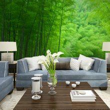 Nature wall decor murals wallpaper green bamboo forest landscape photo wallpaper living room bedroom papel de parede(China (Mainland))