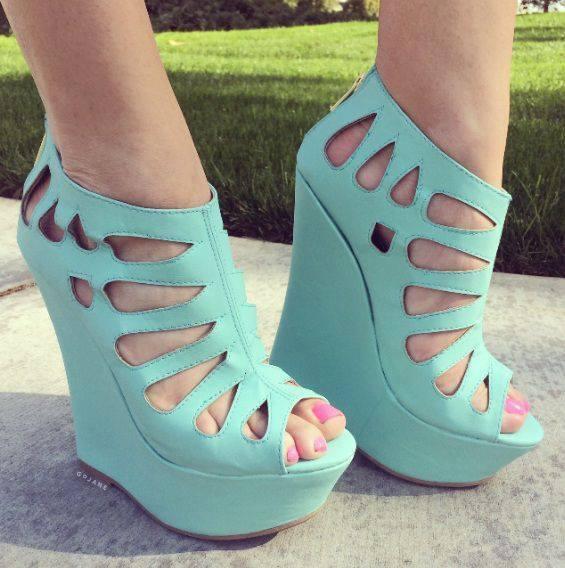 Elegant Pink Wedges Platforms Cut Outs Open Toe Big Size Custom Made High Heels Summer Sandals Ladies Shoes sapatos femininos(China (Mainland))
