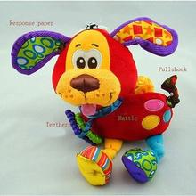 Hanging Toy Dog Plush vibration Rattle Teether newborn baby Gift Multifunction(China (Mainland))