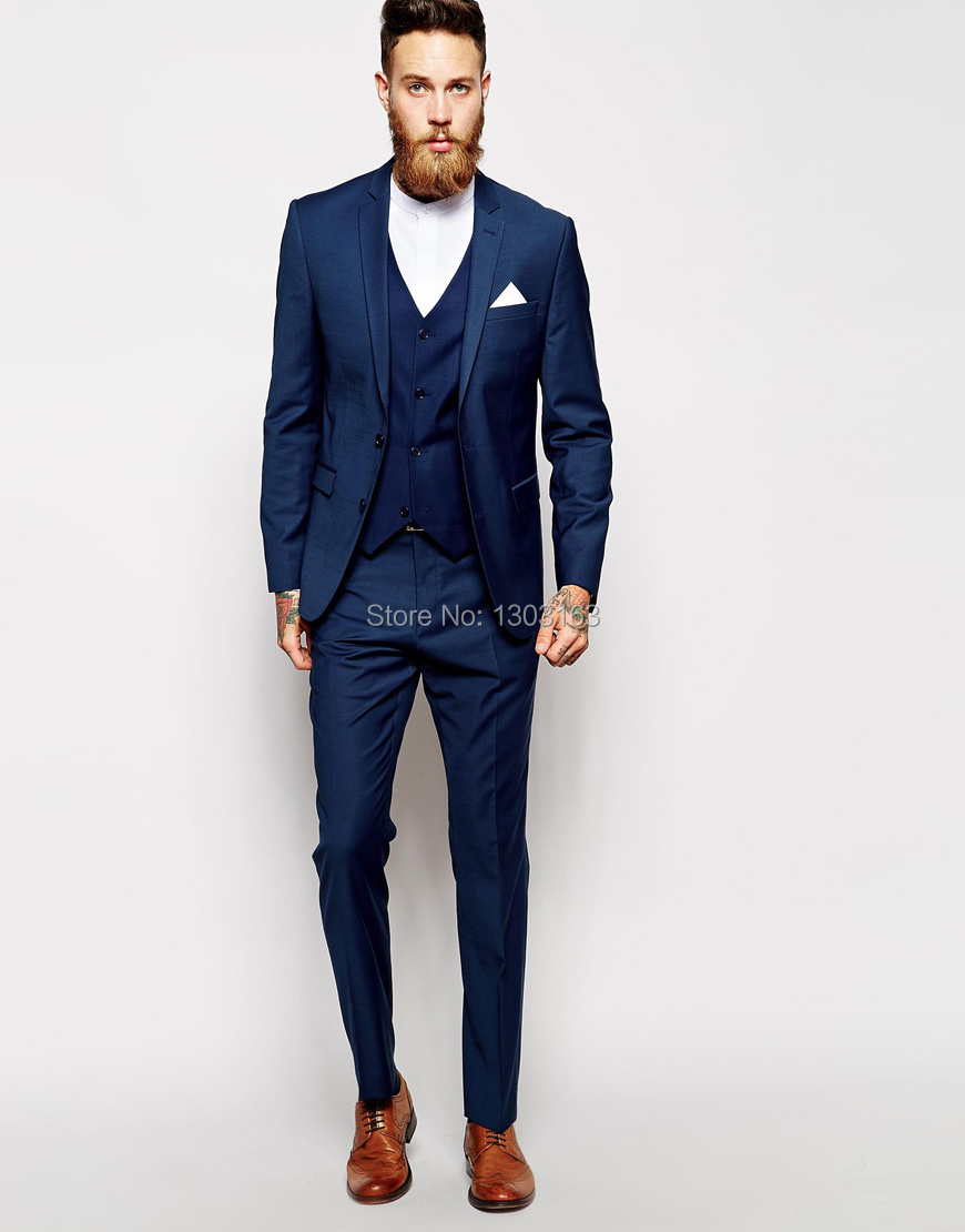 Tailor Made Navy Blue Men Suit (Jacket Pants Vest) | Wed Direct