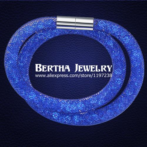 New Designs Bracelets & Bangles Magnetic Mesh Double Stardust Bracelet Star Dust Pulseras With Swarovski Elements Crystal Stones(China (Mainland))