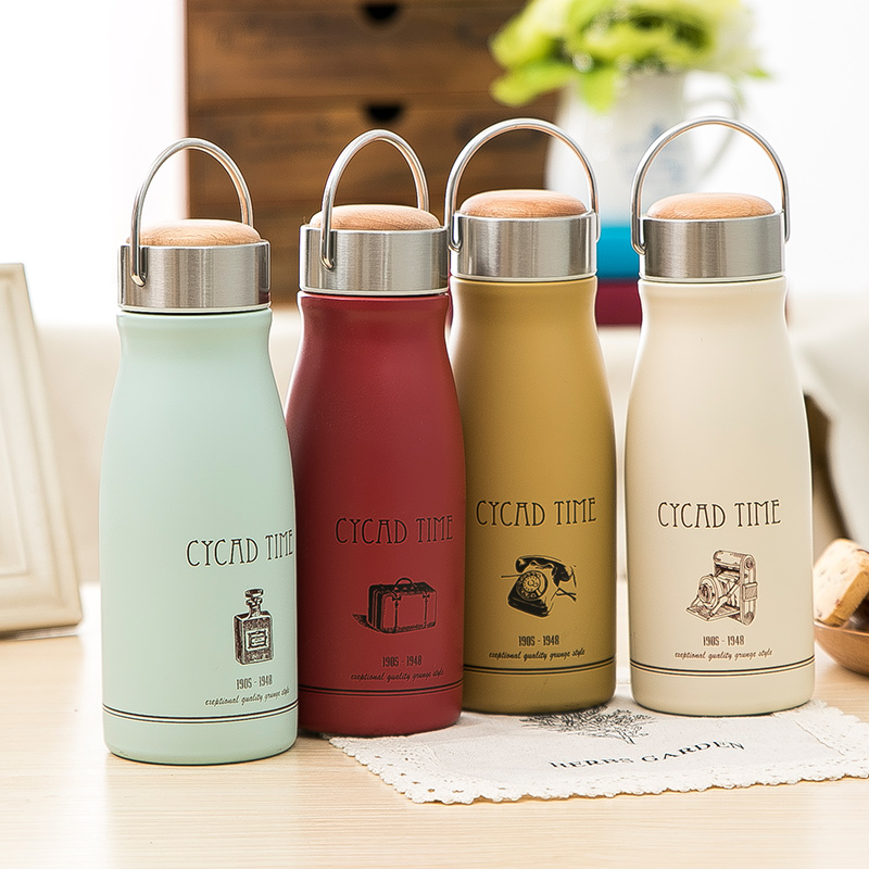2016 Thermocup Thermo Mug Zakka Retro Matte Insulation Cup Children's Vacuum Stainless Steel Portable Flask Students Shimizu Ko(China (Mainland))