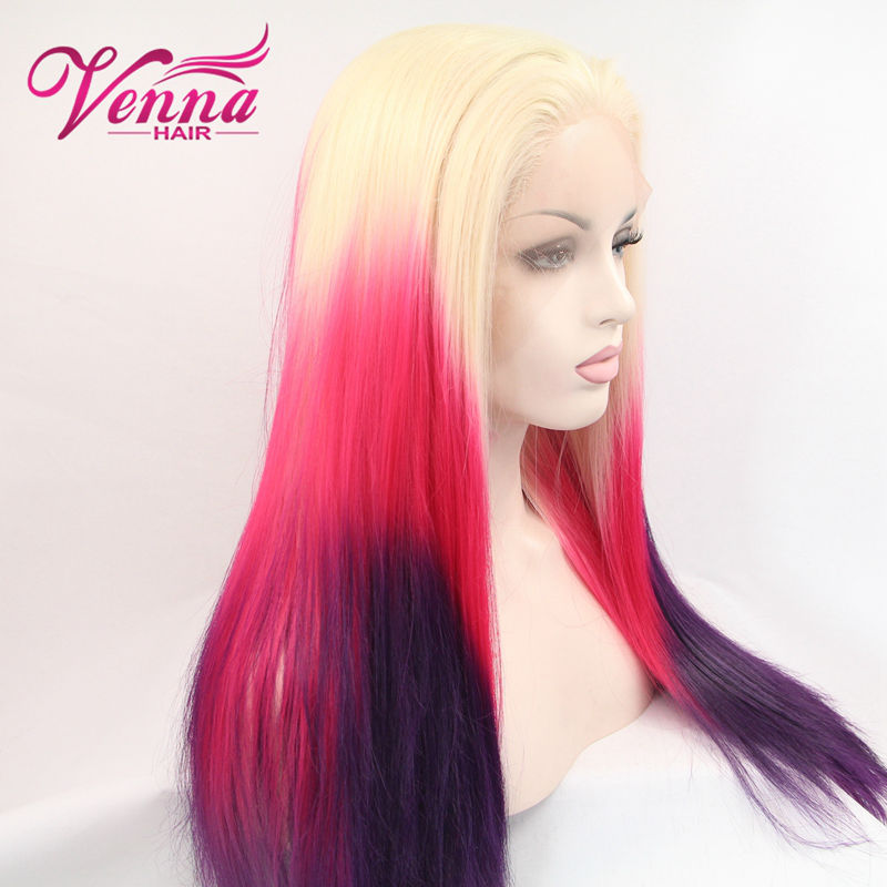 Ombre Red Purple Blonde root turquoise teal Synthetic Lace Front Wig Glueless Ombre Tone Color Long Hair Wigs Heat Resistant<br><br>Aliexpress