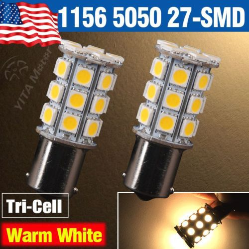 2pcs Car Styling Light Warm White led Lamp1156 BA15S 27-SMD 5050 Turn Signal Reverse LED Light bulbs for Car Truck Trailer RV -(China (Mainland))