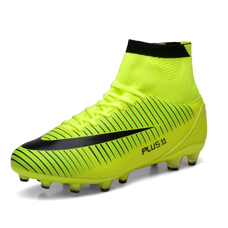High Ankle Men Football Shoes Newest High Top Soccer Cleats Long Spikes Training Football Boots Hard-wearing Soccer Shoes(China (Mainland))