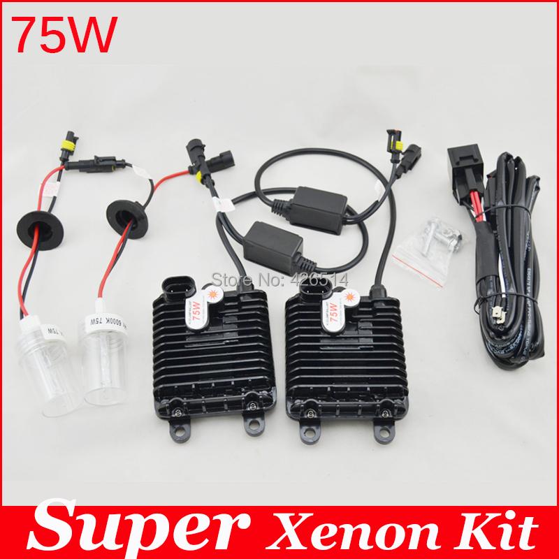 Фотография Guarantee 2 year,75W hid xenon kit H1 H3 H7 H8 H11 9005 9006 hb3 bh4 4300k 6000k 8000k for car headlight two AC ballast