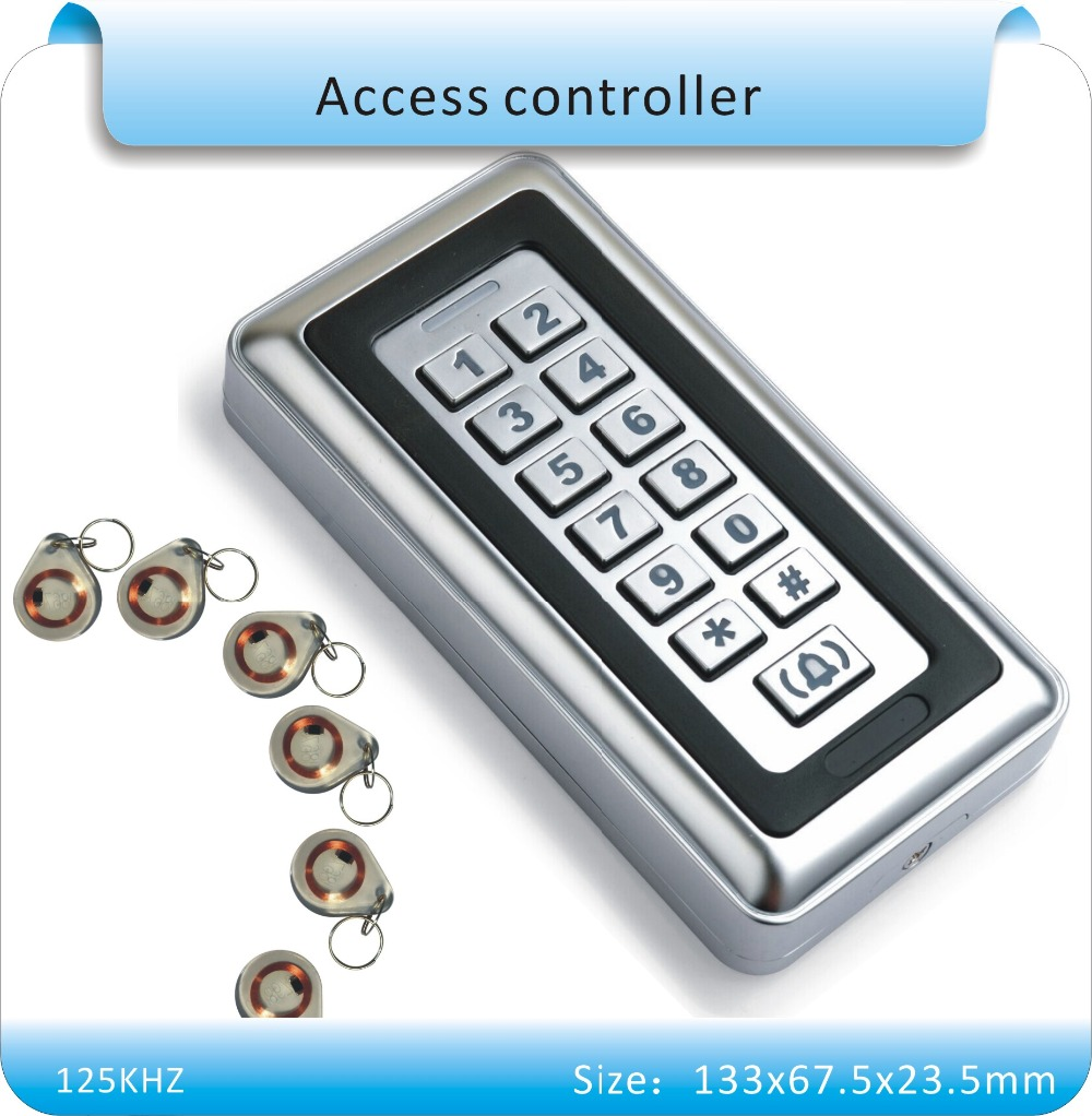 Free shipping metal casing 125KHZ Electronic RFID Proximity Entry Door Lock Access Control System with 10pcs crystal keyfobs(China (Mainland))