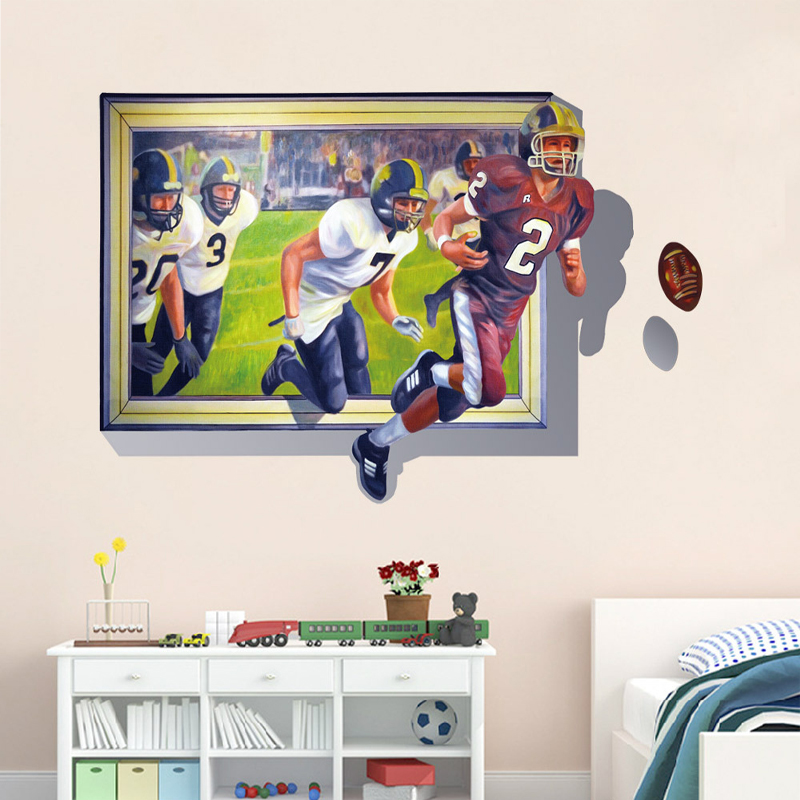 3D Wall Stickers For Kids Living Room Window Soccer Football Design Removable Art Sticker Sofa Wall Home Decorative Murals(China (Mainland))