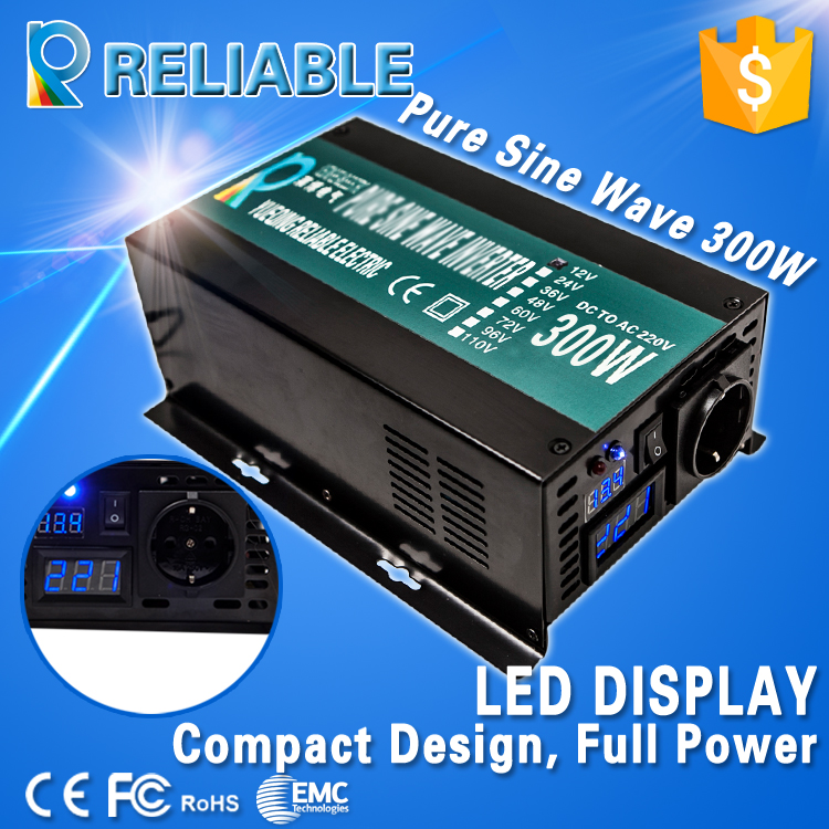 LED Display Off Grid Solar Inverter 300Watt/300W 12/24/48VDC to 110/220VAC 300W Rated Pure Sine Wave Power Inverter(China (Mainland))