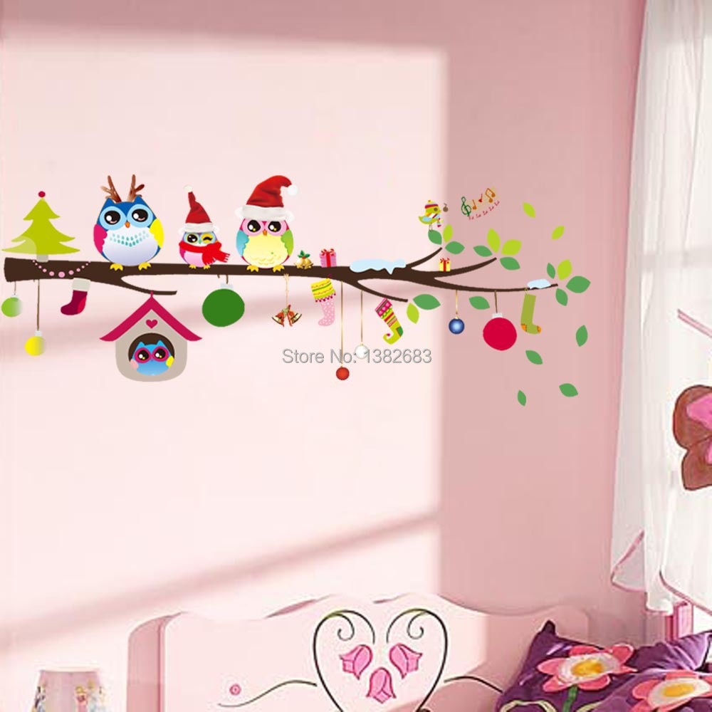 Free Shipping Owl Family Music Notes Christmas Gift Baby Room Vinyl Wall Art Decals Decor Girls