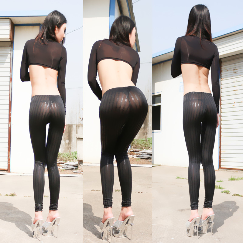 New Sexy PU Crocodile Snake Veins Transparent Leggings See Through Hip light Pencil Pants Erotic Lingerie Club Wear FX39(China (Mainland))