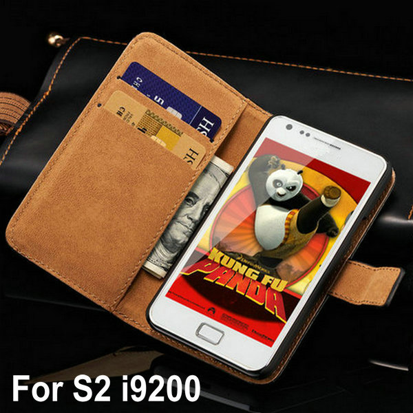 Vintage Wallet Stand Genuine Leather Case For Samsung Galaxy S2 i9100 SII S II Phone Bag with Card Holder(China (Mainland))