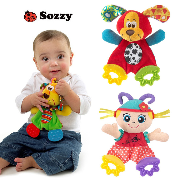 Free shipping new 2015 baby toy sozzy newest cute soft animal colorful placate towel with teether sound paper developmental toys(China (Mainland))