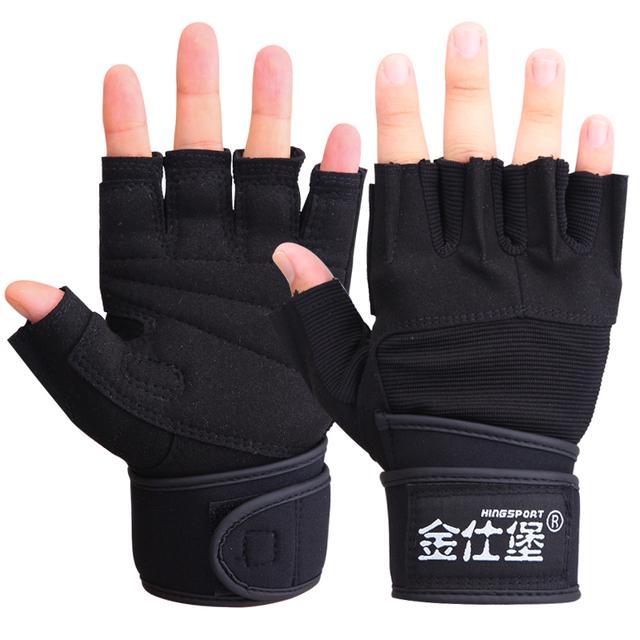 Fitness gloves male sports semi-finger gloves long wrist support dumbbell gloves slip-resistant breathable