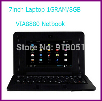 DHL Free shipping 68$ 1pcs 8GB 7 inch via 8880 mini laptop Android 4.2 /windows ce system 1GRAM 8G ROM laptop with webcam(China (Mainland))