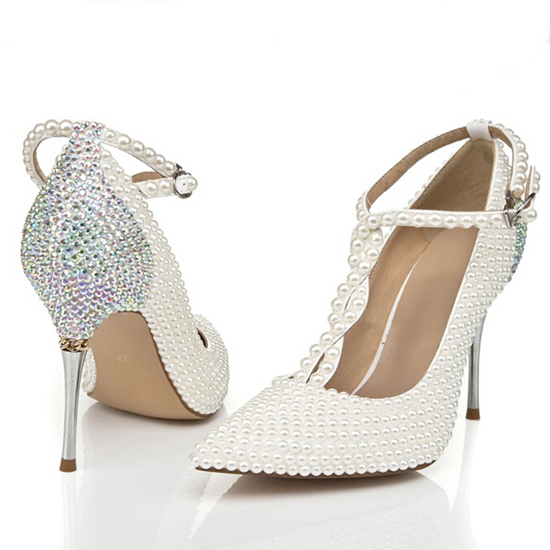 Aliexpress Buy 2015 T Strap Ivory Wedding Shoes With Rhinestone Pointed Toe Stiletto Heels