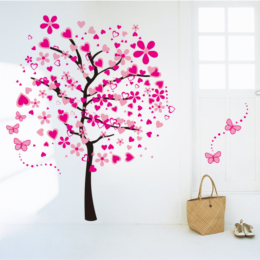 Large pink peach tree butterfly wall stickers removable for Butterfly wall mural stickers