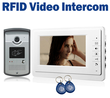 7″ LCD Wired Video Door Phone Intercom + CMOS Night Vision Camera with RFID Door Access Control System
