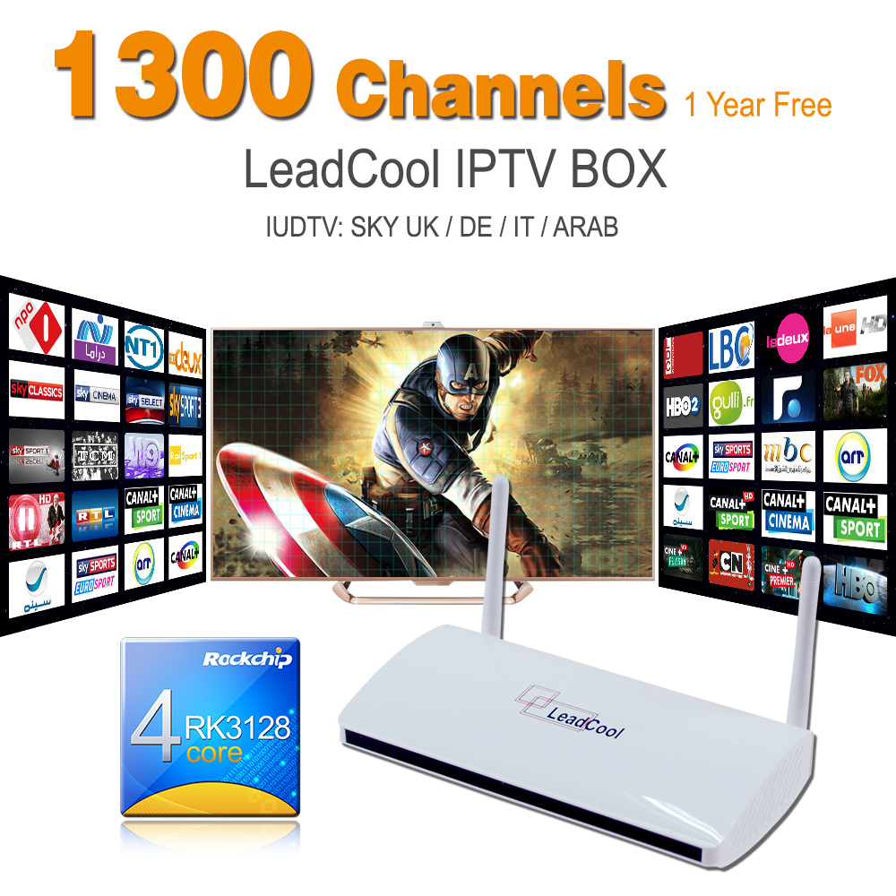 Smart TV Box ARM Cortex A7 Quad Core 1G/8G Android 4.4 H265 1 Year Iptv Free French 1300 Channels Europe Leadcool Set Top - Amazing IPTV Shop store