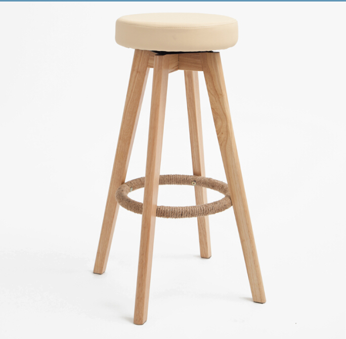 Wooden Swivel Bar Stools Modern Natural Finish Round Leather Foam Seat Backless Indoor Mini Home Bar Furniture Chair 29-Inch(China (Mainland))