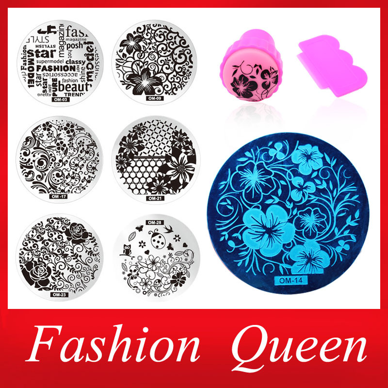New 60Designs Nail Art Stencils Stamping Template,10pcs/lot Polish Print Nail Image Plate Stamper Scraper Set DIY Manicure Tools(China (Mainland))